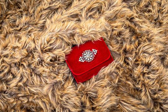 Woman Red Velvet Purse