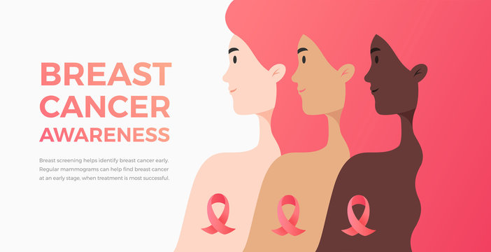 Three women of skin color, different nationalities, cultures, strong together against cancer - unity concept - flat vector Illustration for cancer day / month banner, poster