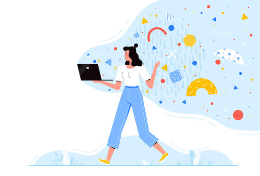 Young woman is walking with a laptop with flying abstract shapes. Concept of mobility, telework, internet accessibility and modern media