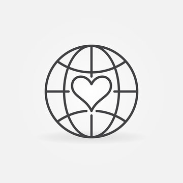 Earth Globe with Heart line icon - sponsorship and kindness vector concept outline symbol
