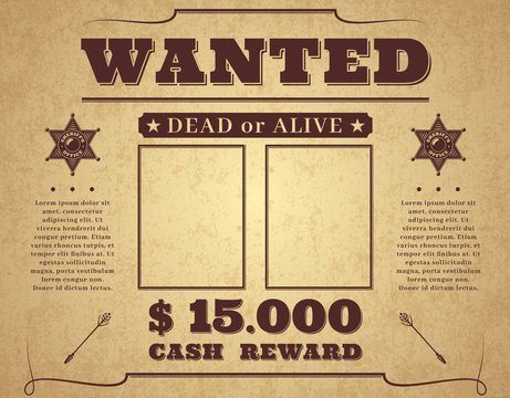 Wanted poster. Vintage western poster with empty place for crime photos, wild west criminal search banner with sheriff star, vector frame for flyer, people search template with copy space