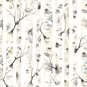 Birch trees with branches, watercolor seamless pattern. Forest illustration of stems on white background, nature template.