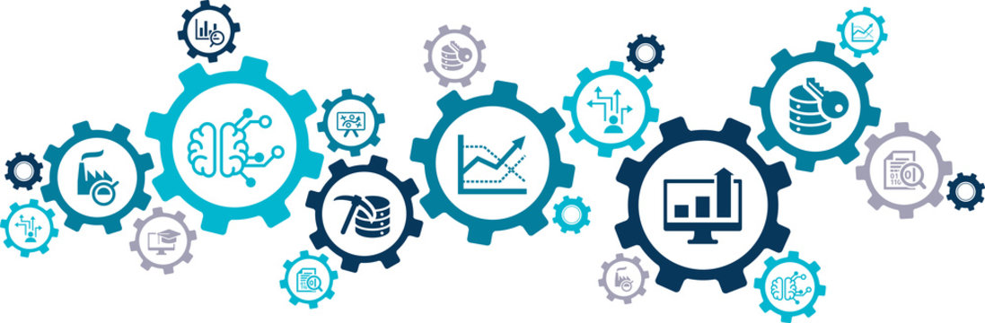 Business intelligence vector illustration. Concept with connected icons related to data mining / analysis, optimization, performance monitoring, reporting or decision-making.