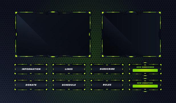 green twitch panel set design template