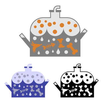 Simple vector clipart of the anaerobic bio digester for biowaste recycling. Flat icon of container for biogas production from organic waste