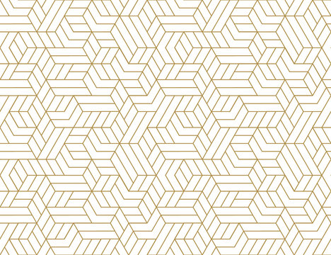 Abstract stripes, line vector seamless pattern. Neutral monochrome business background, gold white color. Linear shapes, creative geometric ornament