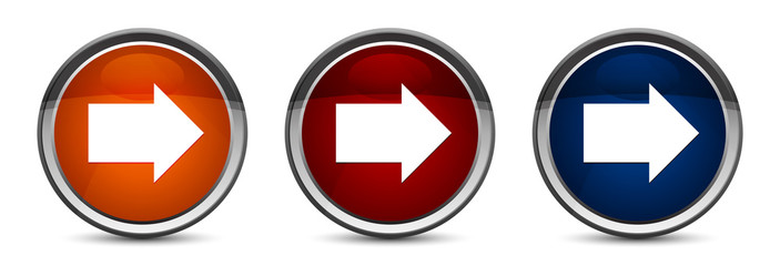 Next arrow icon exclusive blue red and orange round button design set