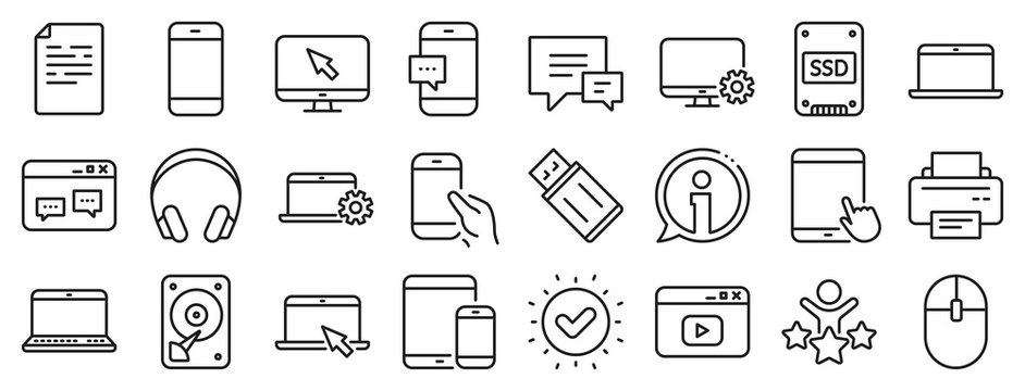 Laptop, Tablet PC and Smartphone icons. Mobile device line icons. HDD, SSD and Flash drive. Headphones, Printer and tablet device. Mouse, ssd disk, mobile laptop. Memory hdd drive. Vector