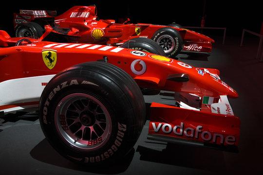 MUGELLO, IT, 24 October 2019: Detail of Modern Era Ferrari F1 ex Michael Schumacher on display at Mugello Circuit in italy during Finali Mondiali Ferrari 2019. Italy.