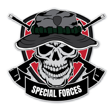 Skull head with wings for military badges, printing on T-shirts. Vector Logos Collection.