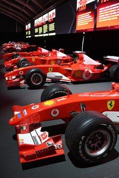 MUGELLO, IT, 24 October 2019: Detail of Modern Era Ferrari F1 on display at Mugello Circuit in italy during Finali Mondiali Ferrari 2019. Italy.