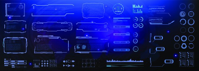 Callouts, frames, pointers, circles, headings. Set of futuristic digital elements for informational windows. HUD, GUI, UI virtual user interface elements