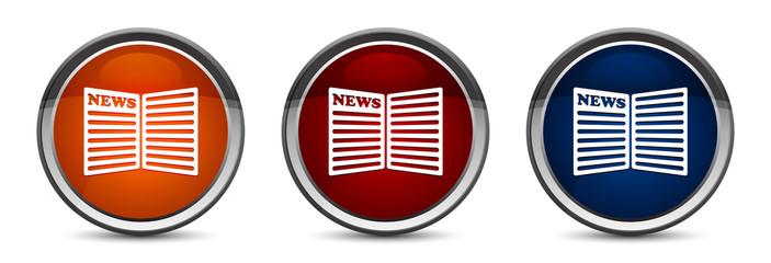 Newspaper icon exclusive blue red and orange round button design set