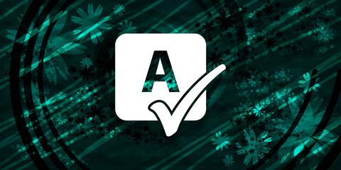 Fototapeta Spell check icon floral emerald green banner background natural design illustration