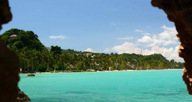 White Beach as seen from Mother Mary cave. Boracay island. Western Visayas. Philippines