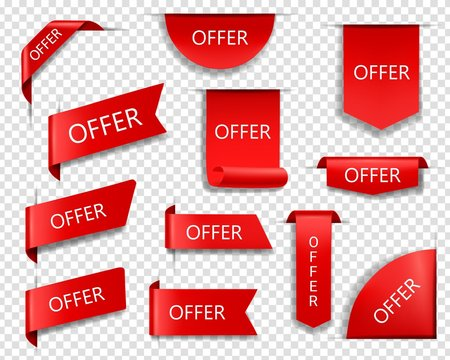 Sale offer red vector banners, ribbons and labels. Isolated internet business corners, realistic discount silk scarlet promotional event banners, shopping flags, tags, sale offer badges or 3d icon set