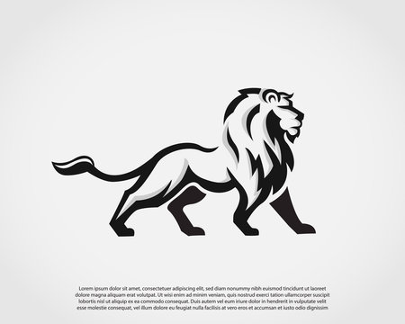 Elegant stand lion drawing art logo symbol design illustration