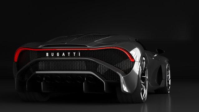 "Bugatti La Voiture Noire, the most expensive car in the world. La Voiture Noire is French simply ""black car"""