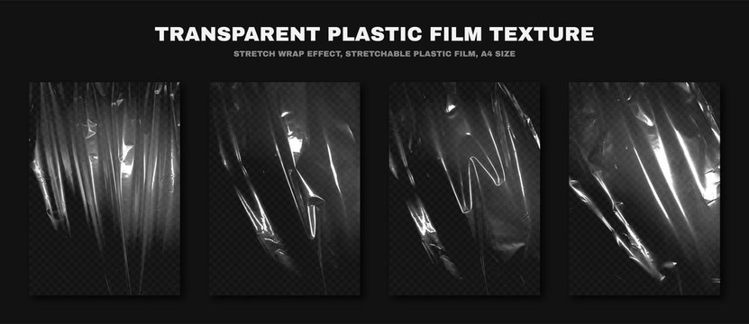 Transparent plastic film texture, stretchable polyethylene film, A4 size. Plastic stretch film effect with crumpled and wrinkled texture