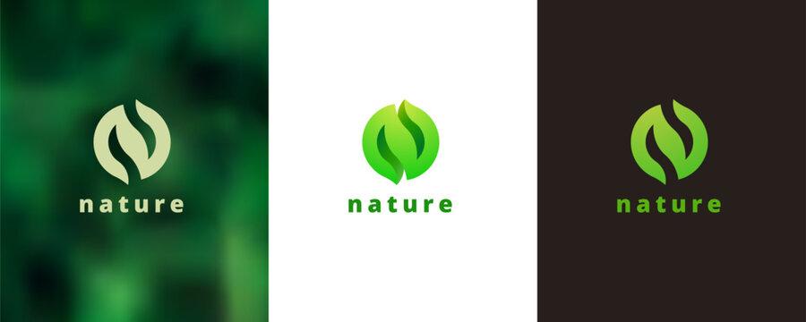 N circular shaped logo design set