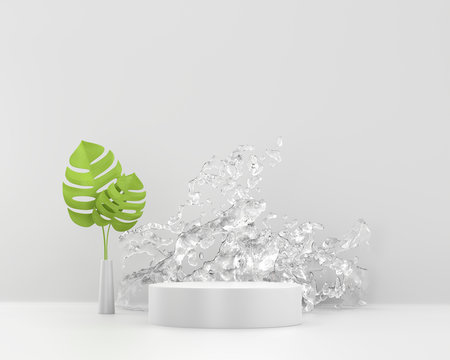 White platform podium with splash water and green plant, template for advertising product, 3d rendering.