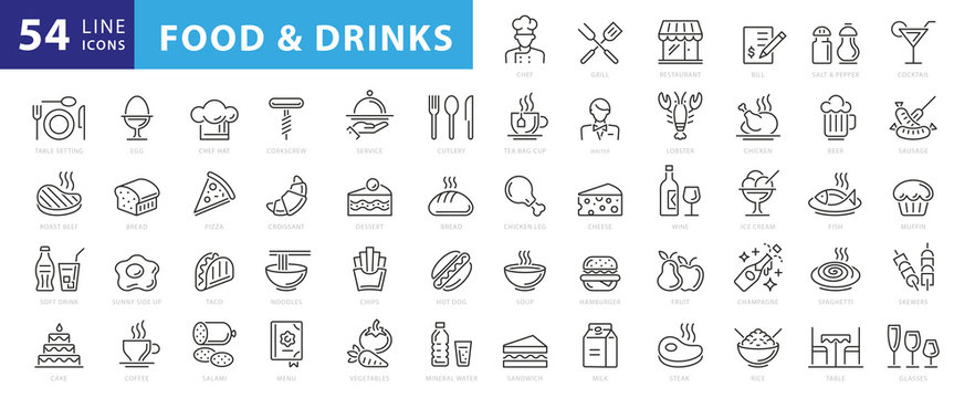 Food linear icons set