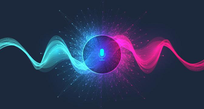Voice assistant concept. Vector sound wave. Voice and sound recognition equalizer wave flow background. Personal assistant and voice recognition concept gradient vector illustration.