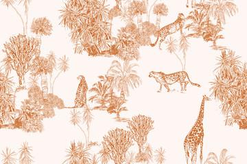 Obraz Safari Wildlife Cheetah, Giraffe in Exotic African Plants Engraving Doodle Drawing, Tropical Wallpaper Mural Toile Seamless Pattern - fototapety do salonu