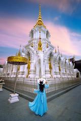 Wall Mural - Tourist visiting at Wat Khua Khrae in Chiang rai, Thailand.