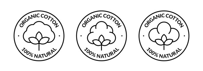 100% Natural Organic Cotton Icon. Set of vector badges, logos or labels. Minimalistic illustration in line art style