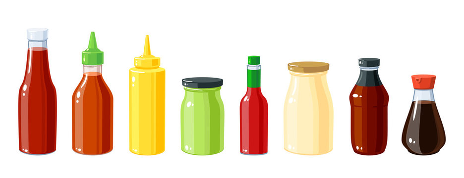 Set of sauce bottles: mustard, ketchup, mayonnaise, chili, wasabi, bbq for various food, vector illustration cartoon icon collection isolated on white background.