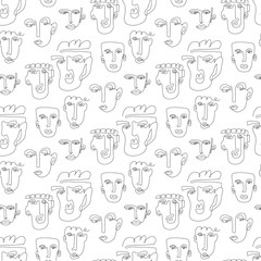One line drawing abstract face seamless pattern. Modern minimalism art, aesthetic contour. Continuous line background with woman and man faces.