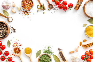 Fototapeta Colourful herbs spices and flavoring for cooking obraz