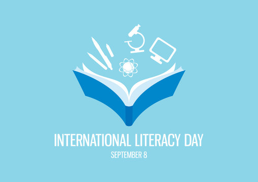 International Literacy Day vector. Open book with knowledge icons vector. Study icons set. Human abilities vector. Education symbol vector. Literacy Day Poster, September 8. Important day
