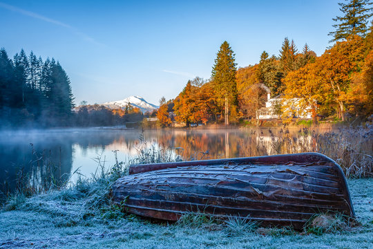 Frosty Late Autumn Morning at Loch Ard, Loch Lomond and The Trossachs National Park.
