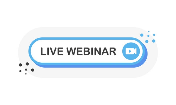 Web banner with live webinar blue button. 3D object. Video play button symbol. White background. Web design. Vector illustration.