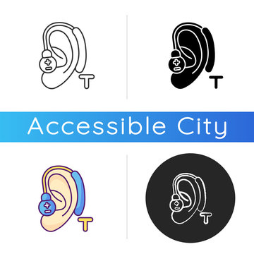 Hearing loop icon. Assistive listening technology. Audio induction loop system. Hearing aids. Clear sound facilities. Linear black and RGB color styles. Isolated vector illustrations