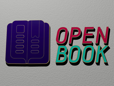 3D graphical image of open book vertically along with text built by metallic cubic letters from the top perspective, excellent for the concept presentation and slideshows for background and