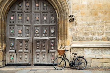 Old Fashioned Bicycle Outside Oxford University College Building