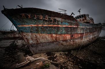 Acrylic Prints Shipwreck Ship wreck, abandoned boat at the shore at Camaret sur mer, Crozon, Brittany / Bretagne, France.