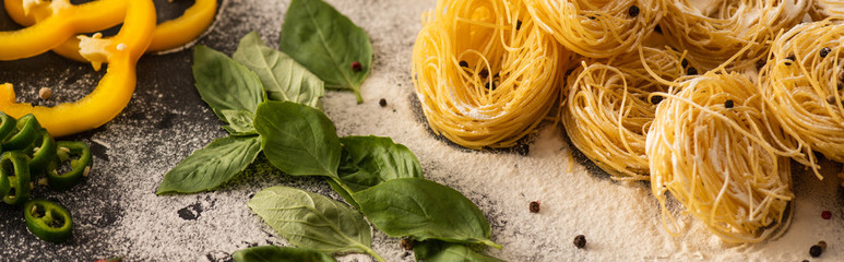 raw Italian Capellini with vegetables on flour on black background, panoramic shot