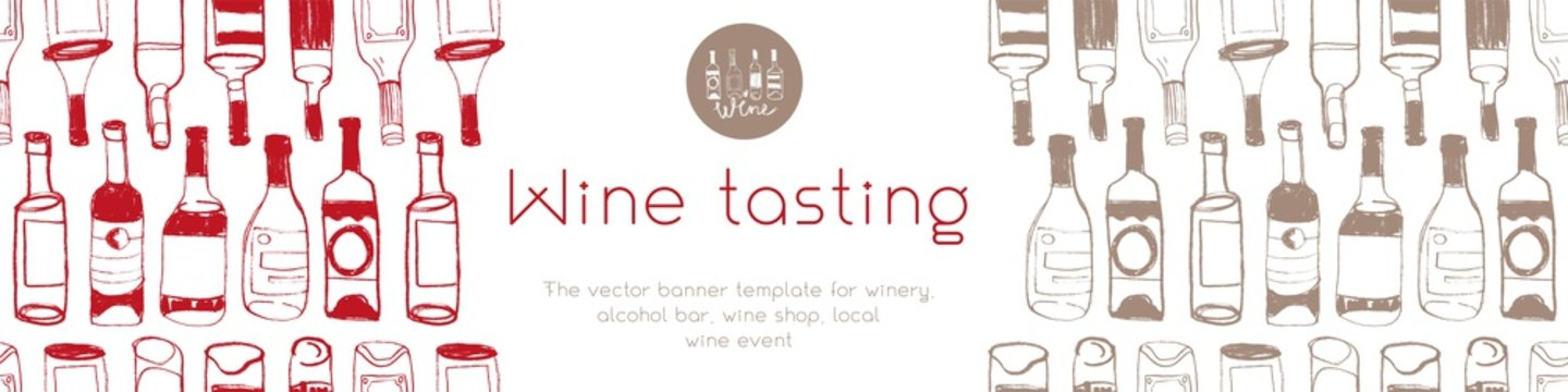 Panoramic banner template of New Bio winery concept. Bottles seamless pattern with hand drawn linear Illustrations for Biodynamic wine shop, restaurant website banner. Produce natural Organic Wines.