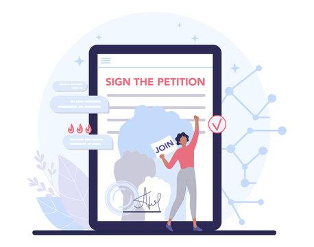 Online petition concept. Collective public appeal online service.
