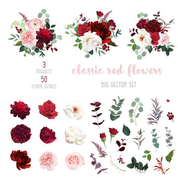Classic luxurious red and peachy roses, pink carnation, ranunculus, dahlia
