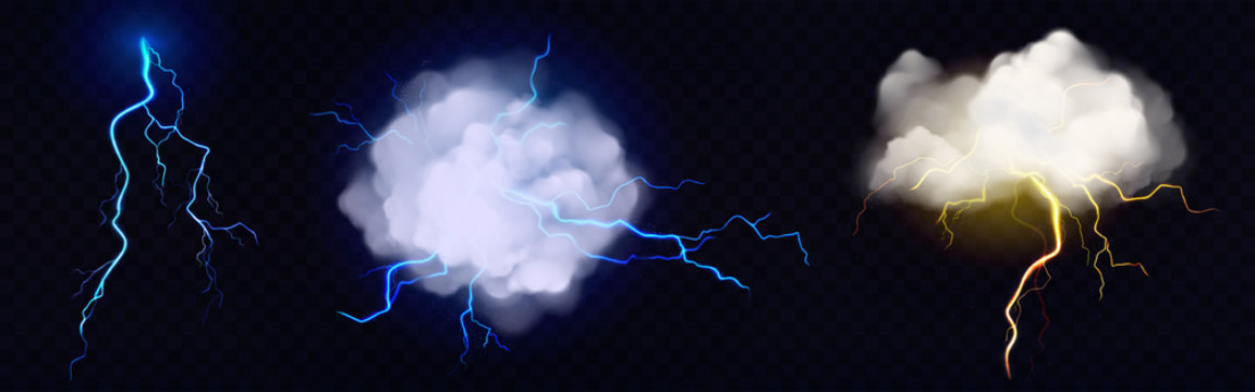 Lightnings, thunderbolt strikes from storm clouds at night. Vector realistic set of blue and yellow electric impacts in sky, sparking discharge of thunderstorm isolated on dark transparent background