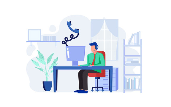 Customer support answer voice call from customer at computer device. Business worker work with computer in office room. Male with computer illustration concept. Vector