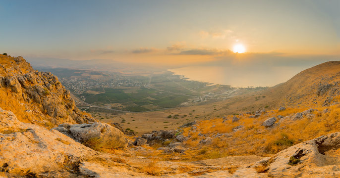 Panoramic sunrise view of the Sea of Galilee from Arbel