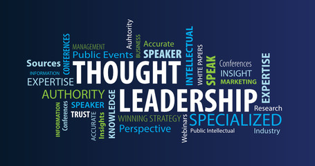 Thought Leadership Word Cloud on a Blue Background