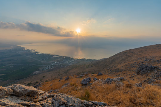Sunrise view of the Sea of Galilee, from mount Arbel