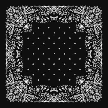 Bandana Paisley Ornament Design with mexican skull pattern
